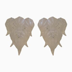 Vintage Murano Glass Leaf Wall Sconces, Set of 2