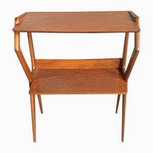 Italian Oak Console Table with Shelves, 1950s