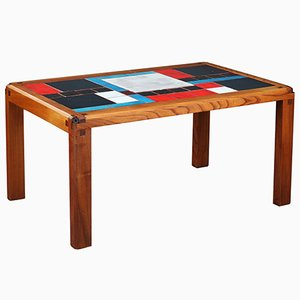 Mid-Century Solid Elm & Ceramic Tiles Coffee Table by Pierre Chapo