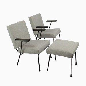 415/1401 Armlehnstühle & Hocker von Wim Rietveld für Gispen, 1950er