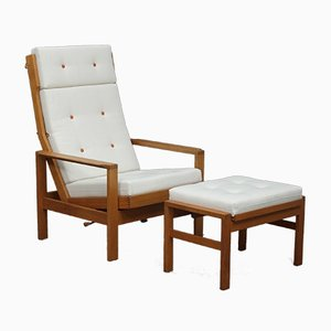 Reclining Chair with Footstool by Borge Mogensen, 1960s