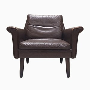 Danish Brown Leather Club Chair, 1960s