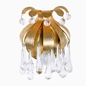 Gilded Brass and Crystal Sconces from Palwa, 1970s, Set of 2