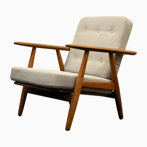 Vintage Oak Cigar GE-240 Lounge Chair by Hans J. Wegner for Getama