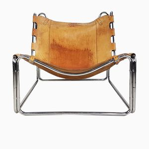 Fabio Saddle Tan Leather Chrome Lounge Chair by Pascal Mourgue for Steiner, 1970s