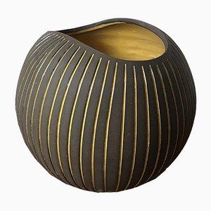 Kokos Ceramic Vases in Striped Glaze by Hjördis Oldfors for Upsala Ekeby, 1950s, Set of 2