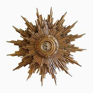 Antike Vergoldetet Holz Sonnenuhr, 1900er