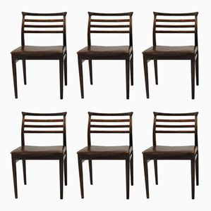 Dining Chairs in Rosewood and Brown Leather by Erling Torvits for Sorø, 1960s, Set of 6