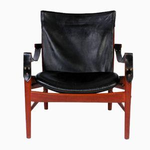 Vintage Antilop Safari Chair in Black Leather and Teak by Hans Olsen for Viskadalens