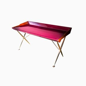 Mid-Century Inspired Lacquered Wood and Brass Versatil Writing Desk by SORS Privatiselectionem