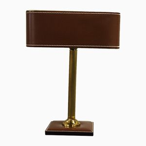 Faux Leather and Brass Table Lamp, 1970s