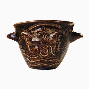 Dänische Vintage Art Deco Steingut Relief Vase von Bode Willumsen für Royal Copenhagen