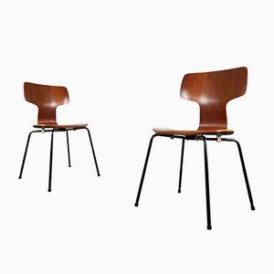 Modell 3103 Hammer Stühle von Arne Jacobsen für Fritz Hansen, 1960er, 2er Set