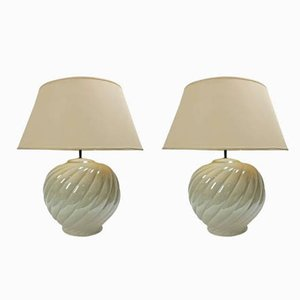Vintage Ceramic Table Lamps By Tommaso Barbi 1970s Set Of 2