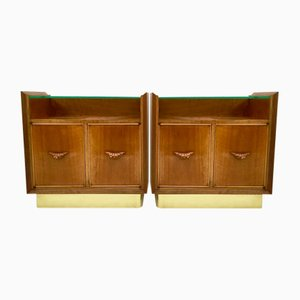Vintage Italian Walnut Nightstands, 1940s, Set of 2