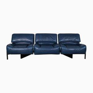 Mid-Century Blue Veranda Sofa by Vico Magistretti for Cassina, 1970s