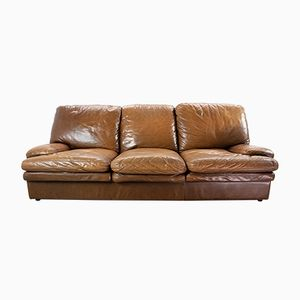 Mid-Century Modern Brown Leather 3-Seater Lounge Sofa