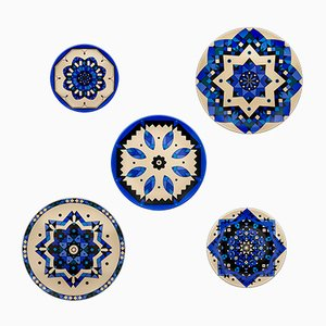 Kaleidoskopische Blaue Porzellanteller von Kostas Neofitidis für Kota, 5er Set