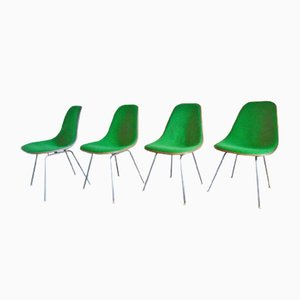 Mid-Century Green DSX Side Chairs by Charles & Ray Eames for Herman Miller, Set of 4