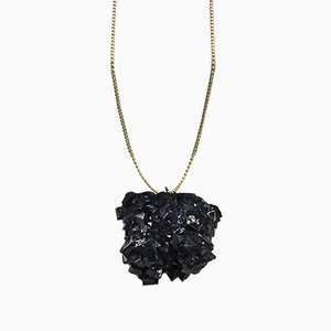 Blue Crystal Necklace with Gold Chain by Isaac Monté