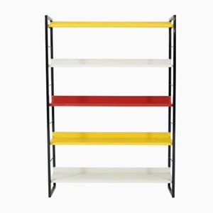 Mid-Century Modern Multicolored Metal Standing Bookshelf from Tomado, 1950s