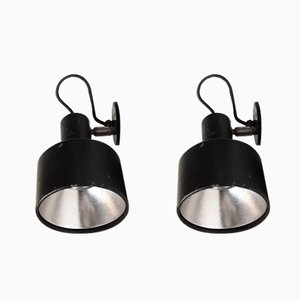Dänische Schwarze Industrielle Vintage Wandlampen von Louis Poulsen, 1970er, 2er Set