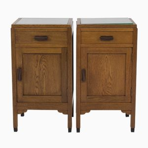 Art Deco Amsterdam School Oak Bedside Tables from Fa.Drilling, 1920s, Set of 2