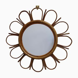 Mid-Century French Bamboo and Rattan Sunflower Mirror, 1960s