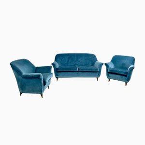 Italian Mid-Blue Velvet Living Room Set, 1950s
