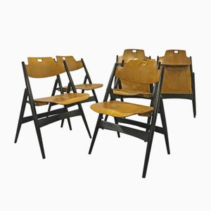 Vintage SE18 Folding Chairs by Egon Eiermann for Wilde & Spieth, Set of 6