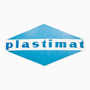 Insegna Plastimat vintage in metallo