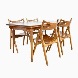 Chaises Sawbuck CH29 et Table AT312 par Hans J. Wegner pour Andreas Tuck, 1950s