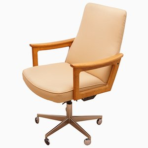 Vintage Swivel Chair with Teak Armrests, 1960s