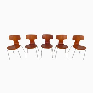 Model 3103 Hammer Chairs by Arne Jacobsen for Fritz Hansen, 1976, Set of 5