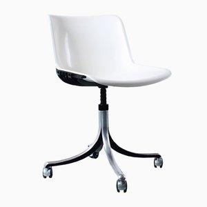 Schwenkbarer Weißer Vintage Aluminium Stuhl von Osvaldo Borsani für Tecno