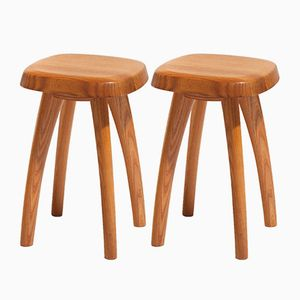 Solid Elm Stools, 1970s, Set of 2