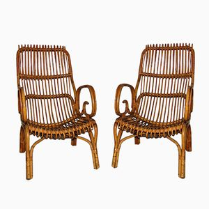 Wicker Armchairs, 1960s, Set of 2