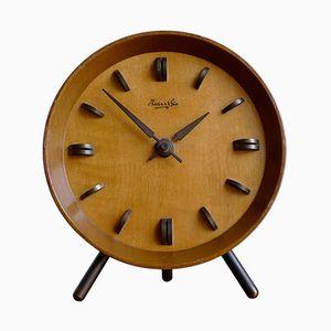 Deutsche Mid-Century Kaminsims-Uhr aus Teak & Messing von Kienzle International