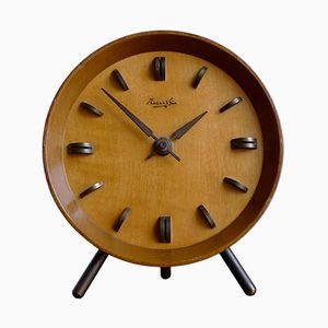 Mid-Century German Teak & Brass Mantle Clock from Kienzle International