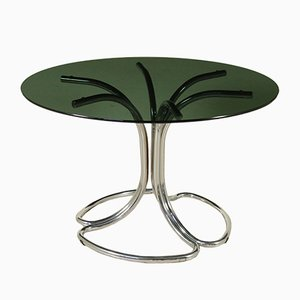 Table in Chromed Metal & Smoked Glass, 1970s