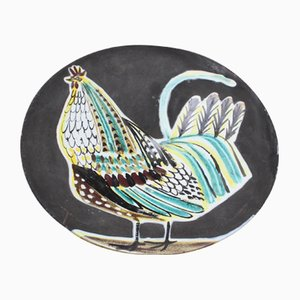 Large French Ceramic Coq Plate by Roger Capron, 1950s
