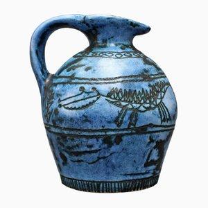 Blauer Keramik Krug von Jacques Blin, 1950er