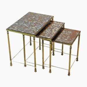 Tables Gigognes Vintage en Laiton, France, Set de 3