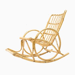 Rocking Chair Vintage en Rotin et Bambou, 1970s