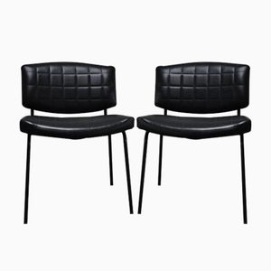 Vintage Black Leatherette Chairs by Pierre Guariche for Meurop, 1957, Set of 2