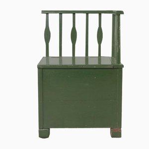 Antike Grüne Sitzbank mit Aufbewahrung