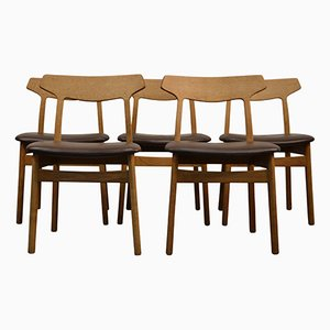 Oak Dining Chairs by Henning Kjaernulf for Bruno Hansen, 1960s, Set of 5