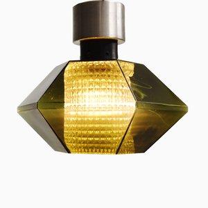 Mid-Century Deckenlampe aus Grünem Glas von Carl Fagerlund für Orrefors