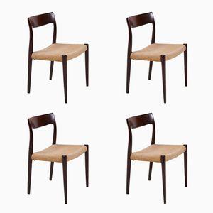 Model 77 Rosewood Side Chairs by Niels O. Møller for J.L. Møller Møbelfabrik, 1960s, Set of 4