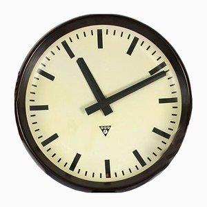 Große Vintage Bakelit Bahnhof Uhr von Pragotron